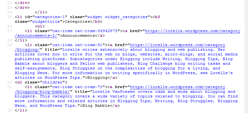 HTML - CSS - View Selection Source in Web Browser - Reading the Category Widget HTML containers.
