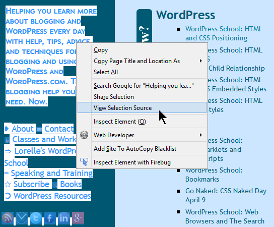 HTML - CSS - View Selection Source in Web Browser Right Click Menu Option.