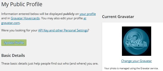 WiordPress Details - Gravatar settings.