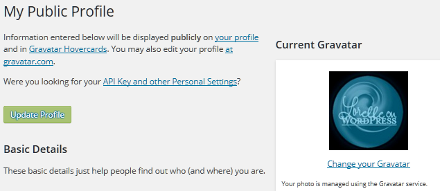 WordPress Details - Gravatar settings.