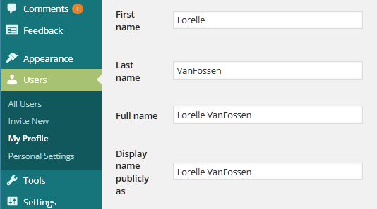 WordPress Details - Display Name settings.