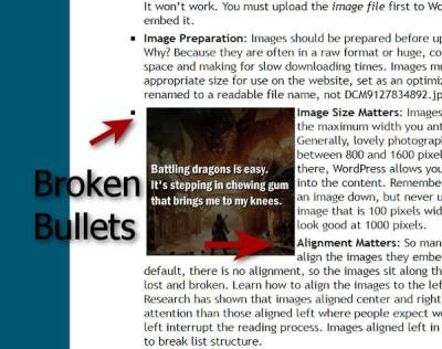 WordPress Details - Image aligned left breaks bullets,.