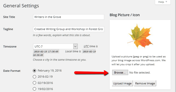 WordPress Details - Set the Blog Picture or Icon to represent the image of the site.