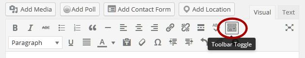 WordPress Details - Toggle Toolbar in Visual Editor.