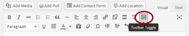 WordPress Details - Toggle Toolbar in Visual Editor.