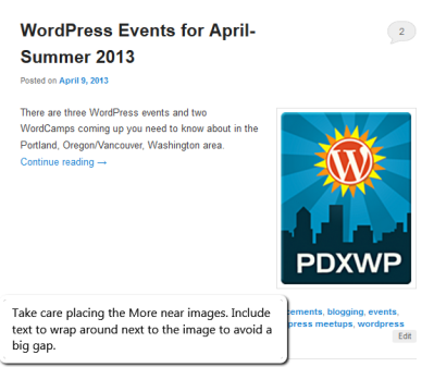 Excerpts - Example of an image with an excerpt that is too short - Lorelle WordPress School.