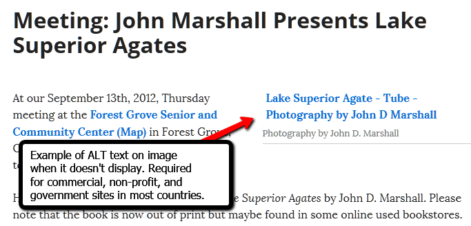Web Accessibility - Example of ALT descriptive text appearing when image does not load or appear.
