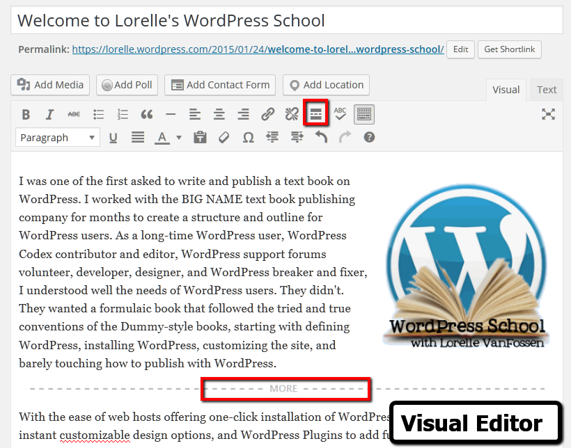 WordPress Excerpts - Visual Editor More button and More excerpt screenshot - Lorelle VanFossen WordPress School.