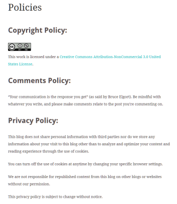 Example of Single Policies Page in WordPress.