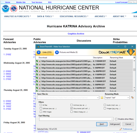 DownThemAll Firefox Extension - download Hurricane Katrina Weather Advisories.