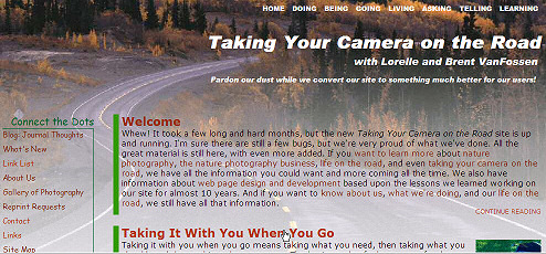 Front page view of Taking Your Camera on the Road - customize WordPress Theme