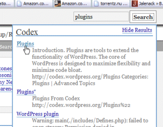 WordPress Codex and Forum Searcher Plugin